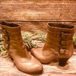 Born Shoes - Born Taupe Distressed 3 Buckle Boot